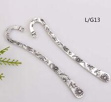 Wholesale20PCS Tibet Silver Hook Retro Carve Sunflowers Bookmarks 118*