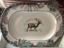 222 Fifth Christmas Woodland Stag Deer  Mount Holly Serving Tray New!