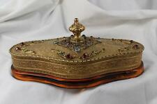 JEWELED APOLLO STUDIOS AMBER GLASS GOLD GILT VANITY POWDER BOX ORIGINAL POWDER