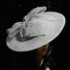 PALE LIGHT GREY DISC FASCINATOR HAT ASCOT WEDDING OCCASION MOTHER OF THE BRIDE