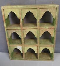 ANTIQUE/VINTAGE INDIAN FURNITURE.TEAK DISPLAY UNIT. DISTRESSED SAGE & JADE