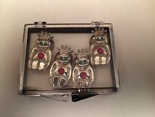 ROYAL ORDER OF JESTERS Silvertone Button Covers ROJ Set of 4 SHRINERS Billiken
