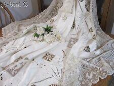 Exquisite Antique Needle Filet NET LACE Linen Tablecloth Figural Paddd Emb MONOG