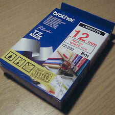 Genuine original Brother Tape TZ-232 Red on White tape 12mm x 8m Laminated