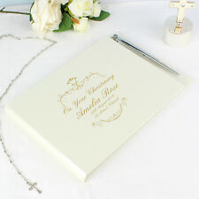 PERSONALISED GOLD MESSAGE GUEST BOOK & PEN SET - Wedding Gift Engagement