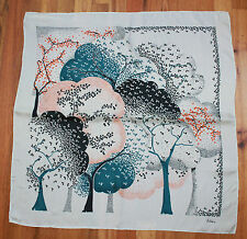 ECHO SILK & AZLON BLEND SCARF IN CREAM WITH NAVY BLUE AND ORANGE GINKO TREES