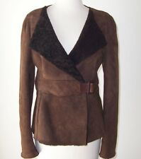 MARNI Brown Lambskin Suede Shearling Fur Jacket Coat 40 2 4