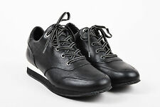 Max Mara Black & White Leather Lace Up Sneakers 39