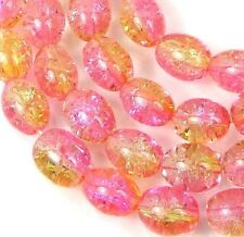 8x6mm Czech Glass Crackle Cracked Barrel Rice Beads - Pink / Yellow (50) 16""