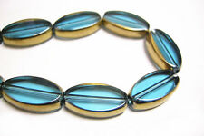 10pc 19X10mm copper plated Turquoise flat oval glass beads-8182E