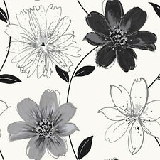 Samba Motif Arthouse Floral Feature Wall Wallpaper Black and Silver Flowers