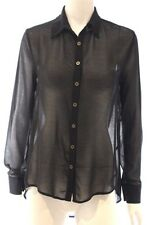 Alice In The Eve Black Sheer Long Sleeve Backless Shirt Blouse Top Sz 6
