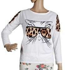 Lady Unique Wearing Leopard Glasses Kitten Personality T-shirt Tops Blouses New