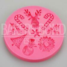 Christmas Silicone Mould - Snowflake Snowman Wreath Reindeer Candy Cane Fondant