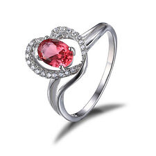 Heart Ladies Pink Sapphire Engagement Ring Solid 925 Sterling Silver Size 8