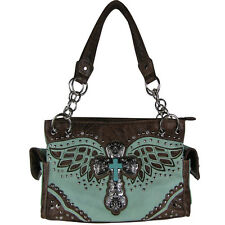 TURQUOISE GREEN WESTERN CROSS WITH WINGS LOOK SHOULDER HANDBAG CONCEALED CARRY