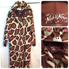 Nick & Nora Pajama Giraffe Jumper Suit Hooded Costume CosPlay One Piece XL