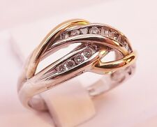 MINT ~ 10K YELLOW & WHITE GOLD 1/4 cttw BRAIDED DIAMOND RING BAND Size 5-1/4