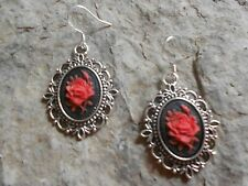 ROSE CAMEO EARRINGS!!!  (red/black) .925 silv. stamped hooks!!!  QUALITY!!!!