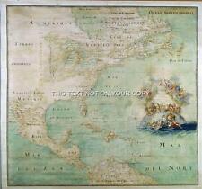 Riproduzione VECCHIO ANTICO VINTAGE mappa dei colori dell' America piano 1680 da nuvola Bernou