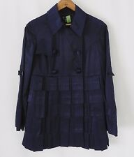Etcetera Double Breasted Coat   Satin . Tiered . Ruffle . Navy Blue . Size M