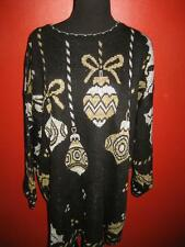 Hideous Glitter Giant Silver Gold Ornaments Ugly Christmas Sweater 1X 2X  EUC