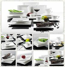 Wave Square Porcelain Crockery Ceramic Stone Dinner Service Cups Plate 30PCS Set