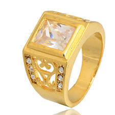 Womens 14K Gold Filled Hollow Clear CZ Band Ring Size 9 Fashion Solid Charm