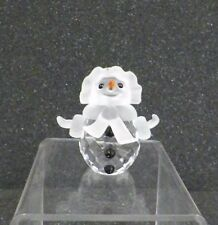"SWAROVSKI CRYSTAL SNOWMAN WOMAN HAT SCARF ORANGE NOSE SWAN LOGO FROSTED 2"" GOOD"