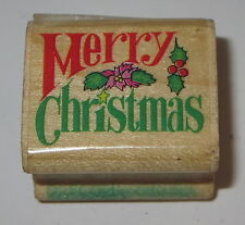 Merry Christmas Rubber Stamp Holly Leaves Berries Wood Mounted Cards