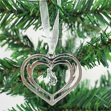 Christmas Xmas Wedding Crystal Heart Decor with Ribbon Hanging Tree Ornament