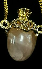 "Rose Quartz & Crystal GOLD TONE 34"" Russian Style Egg NECKLACE PENDANT"