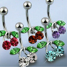 Belly #40 - 5pc Gem Cherries Navel Rings 14g Naval 316L Surgical Steel