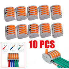 10PCS SPRING LEVER TERMINAL BLOCK ELECTRIC CABLE WIRE CONNECTOR 5 WAY SS