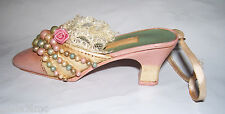 """4"""" long Victorian Shoe Christmas Ornament Peach, real lace & green, cream beads"""