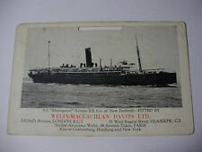 E249 - SS MAUNGANUI New Zealand Steam Co - WELIN-MACLACHLAN DAVITS Calendar Card