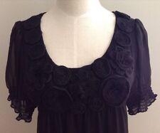 eci  Macy's  Women's Black Stretch Jersey w/ Chiffon Dress - Rosettes  Size 8