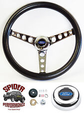 1970-1977 Maverick T-Bird Pinto steering wheel BLACK CHROME 14 1/2""