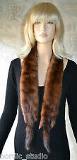 "VTG  GENUINE MINK FUR SCARF, WRAP, - brown, 54"" long, full pelts with tails"