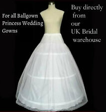 WHITE 3 HOOP BALLGOWN WEDDING DRESS PRINCESS PETTICOAT UNDERSKIRT CRINOLINE