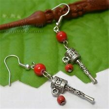 Pair Tibetan Red Coral OM Mani Padme Hum Spin Prayer Wheel Dangle Earrings