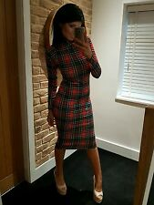 Stunning Red & Black Tartan Check Long Sleeve Turtleneck Midi Dress! Size 12-14
