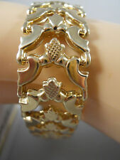 """HEAVY 15.46G WIDE ITALY 14K SOLID GOLD BYZANTINE PANTHER CHAIN BRACELET 14KT 7"""""""