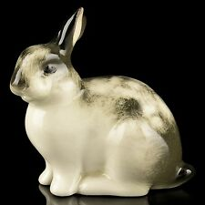 RUSSIAN Imperial Lomonosov Porcelain Sculpture Figurine Rabbit Grey Rare
