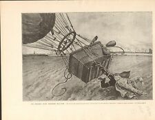 Airship capitaine-aérostier von Siegfield Anvers FRANCE GRAVURE OLD PRINT 1902