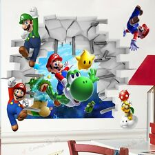 HP Super Mario Cracked Mural Vinyl Wall Decals Sticker Kids Nursery Room Decor