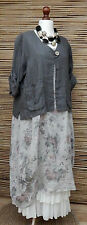 LAGENLOOK LINEN AMAZING BEAUTIFUL 2 POCKET JACKET*DARK GREY*XL-XXL BUST  50-52""