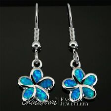 Plumeria Ocean Blue Fire Opal Inlay Silver Jewelry Dangle Drop Earrings