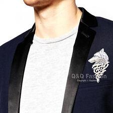 Art Nouveau Dire Wolf Head Coyote Antique Silver NAVAJO Lapel Brooch Pin Badge