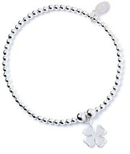 925 Sterling Silver Ball Bead Roodle Bracelet with Four Leaf Charm- RB008
